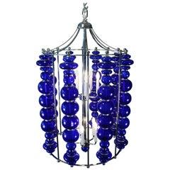 Midcentury /Modern Cobalt Blue Chandelier