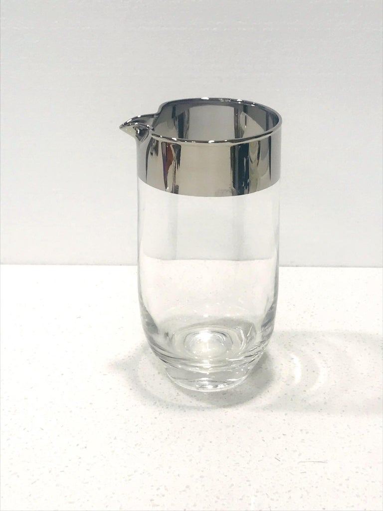 American Mid-Century Modern Cocktail Mixer with Silver Overlay by Dorothy Thorpe For Sale