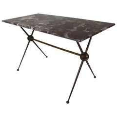 Mid-Century Modern Coffee End Table Bronze Base Marble Top