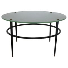 Mid-Century Modern Coffee Table, Brass, Lacquered Metal and Glass, France, 1950s