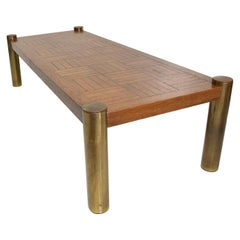 Mid-Century Modern Coffee Table by Lane, Oak and Brass