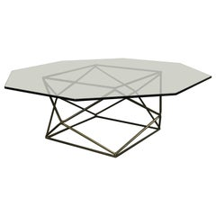 Mid-Century Modern Coffee Table by Milo Baughman in Glass and Bronzed Steel