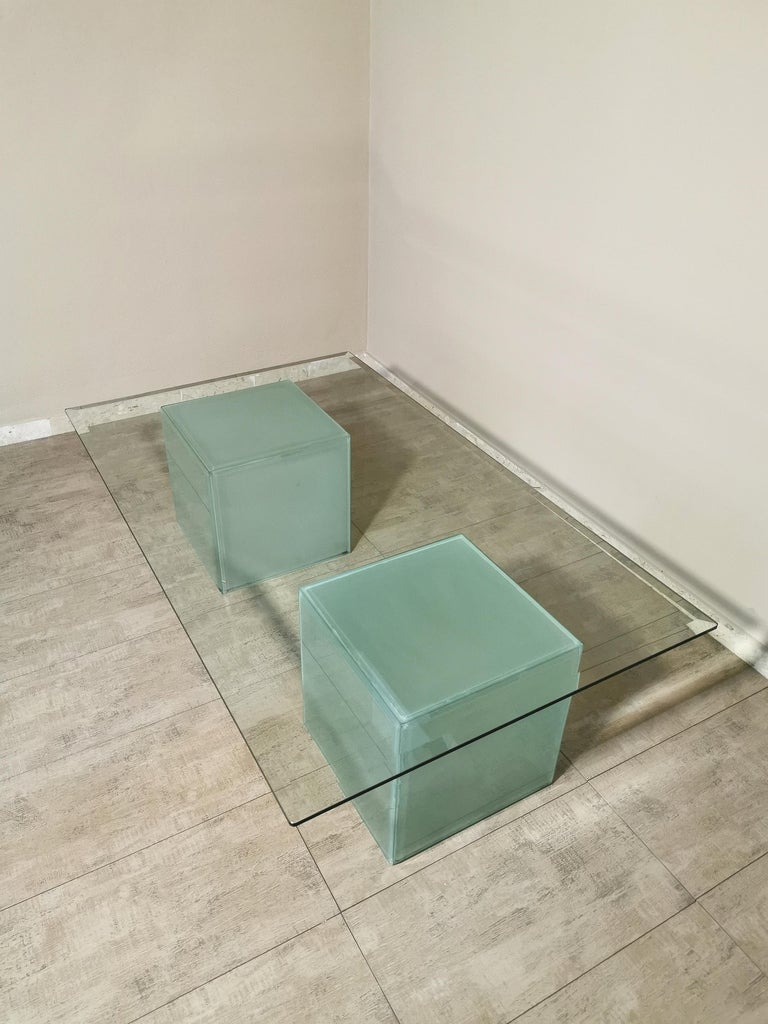 Mid-Century Modern Coffee Table in Glass, Italian Design, 1980s For Sale 5