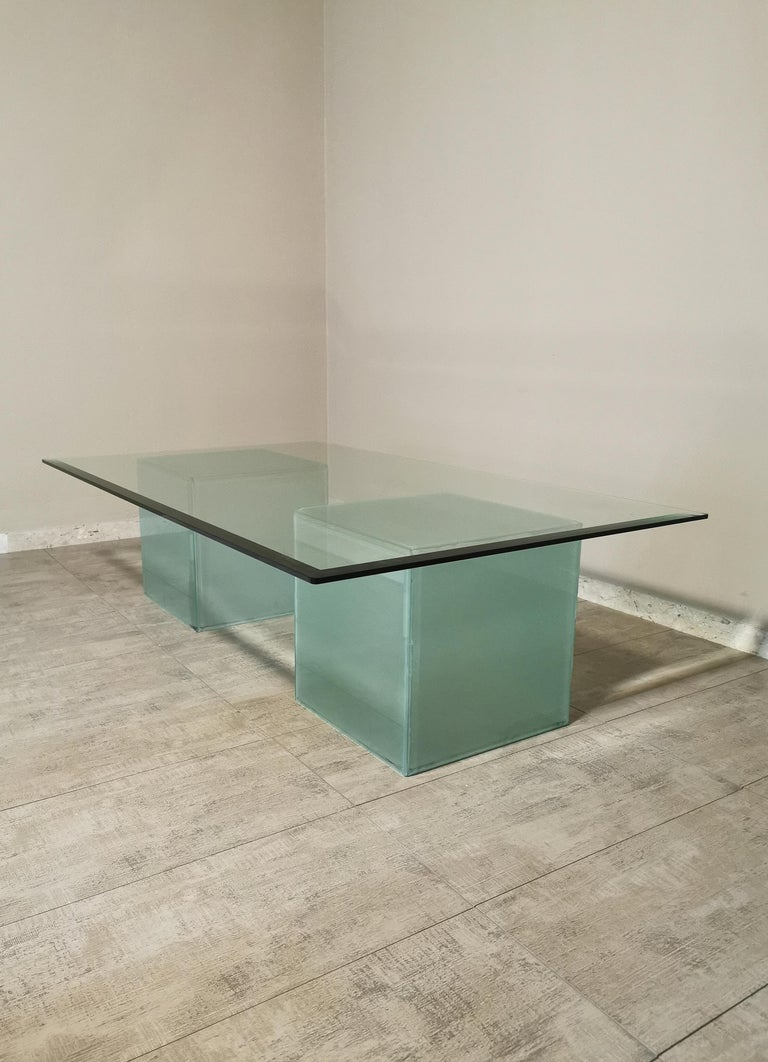 Mid-Century Modern Coffee Table in Glass, Italian Design, 1980s For Sale 6