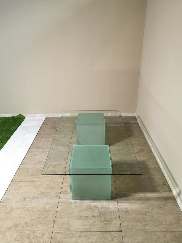 Mid-Century Modern Coffee Table in Glass, Italian Design, 1980s In Good Condition For Sale In Palermo, IT
