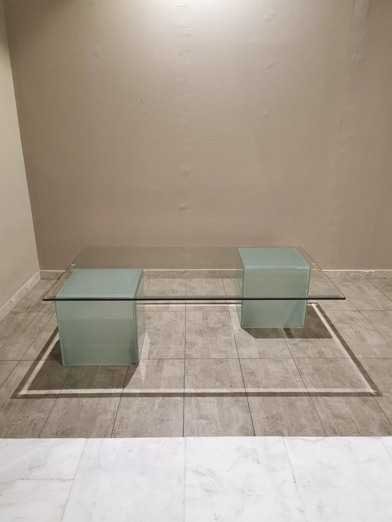 Mid-Century Modern Coffee Table in Glass, Italian Design, 1980s For Sale 3