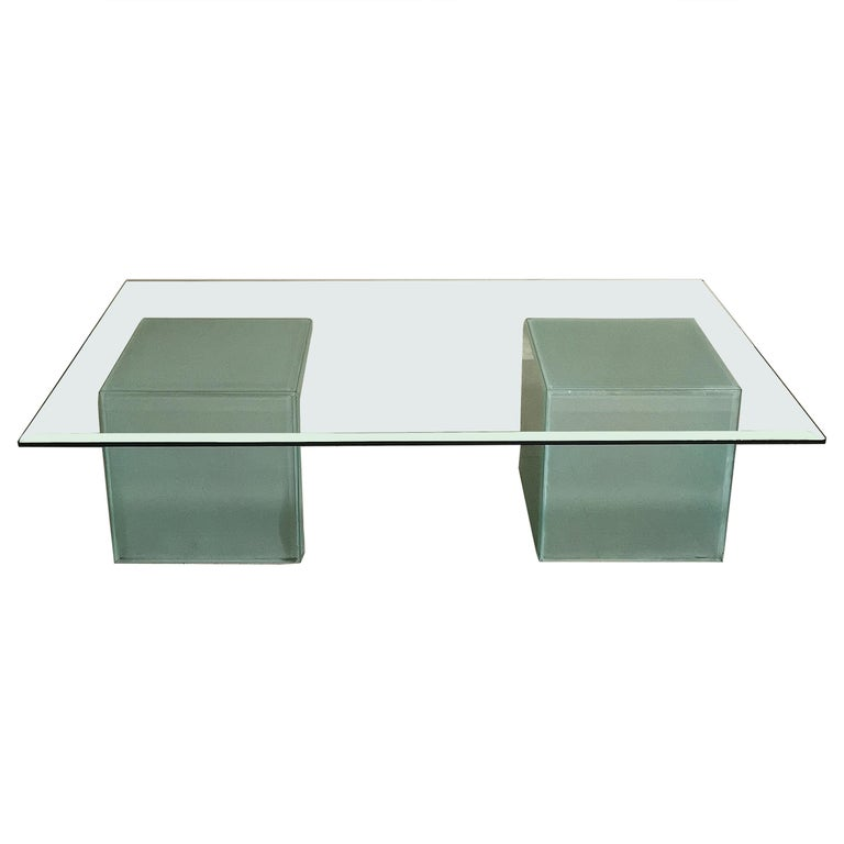 Mid-Century Modern Coffee Table in Glass, Italian Design, 1980s For Sale