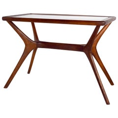 Mid-Century Modern Coffee Table in Wood and Glass, Italy, 1950s