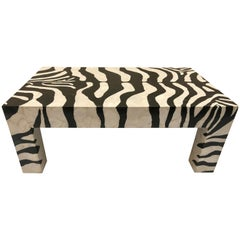 Mid-Century Modern Coffee Table Marble Mozaic, Zebra Pattern