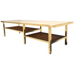 Mid-Century Modern Coffee Table or Bench, Brass Fame with a Travertine Top