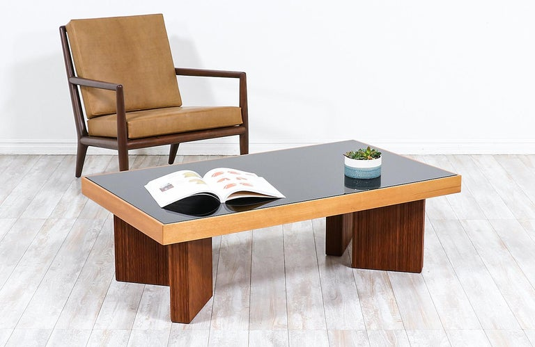American Mid-Century Modern Coffee Table with Smoke Glass Top For Sale