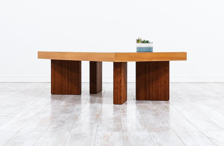 Mid-20th Century Mid-Century Modern Coffee Table with Smoke Glass Top For Sale