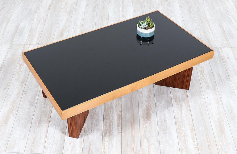 Smoked Glass Mid-Century Modern Coffee Table with Smoke Glass Top For Sale