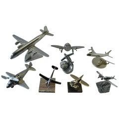 Mid-Century Modern Collection of Eight Aluminium, Chrome Plane Model Sculptures