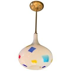 Mid-Century Modern Color Patch Milk Glass Onion Shape Pendant Light