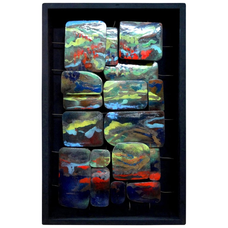 Mid-Century Modern Colorful Abstract Enamel Sculpture For Sale