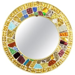 Mid-Century Modern Colorful Mirrored Glass Mosaic Circular Mirror