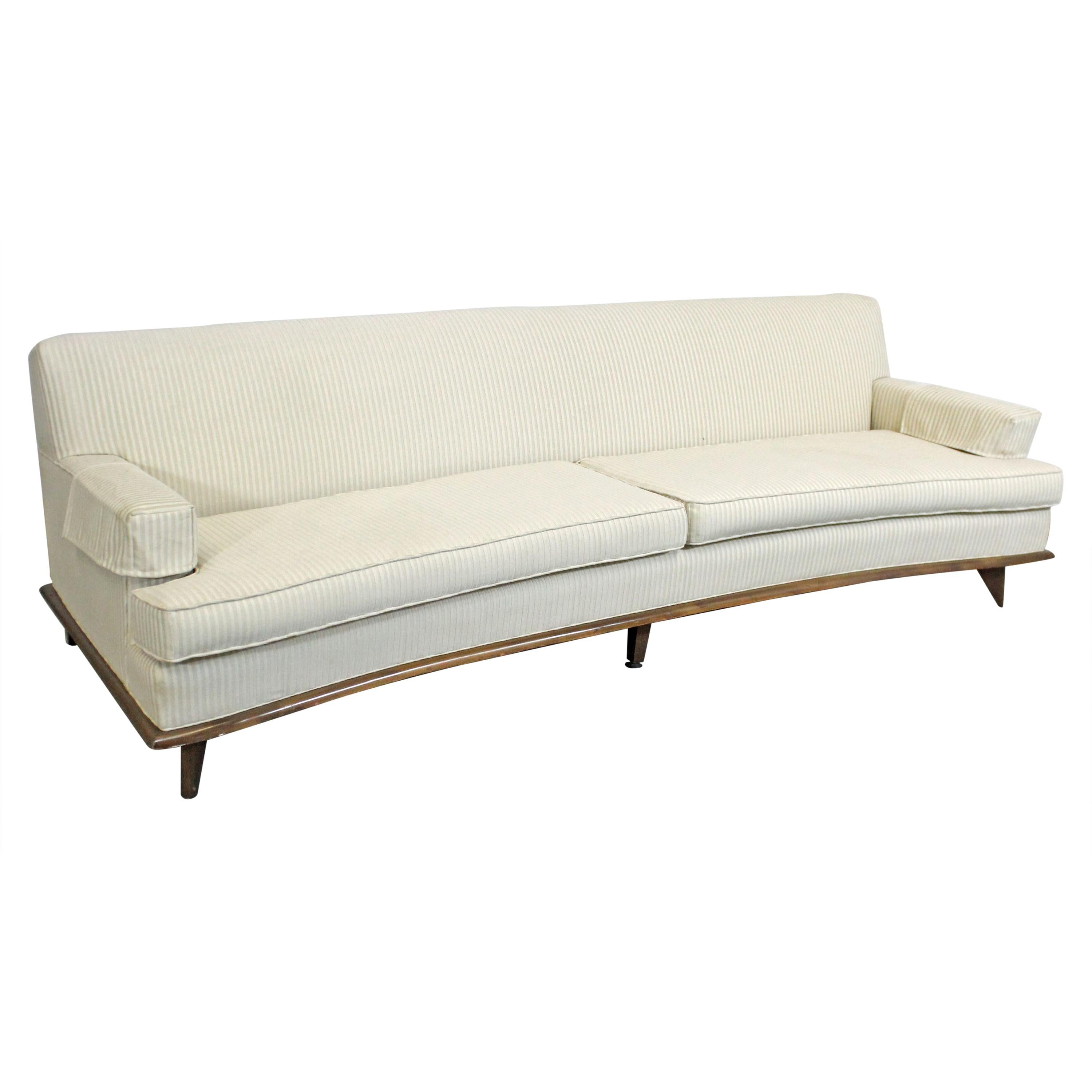 Excellent Mid Century Modern Concave Front White Sofa On Wood Base Beatyapartments Chair Design Images Beatyapartmentscom
