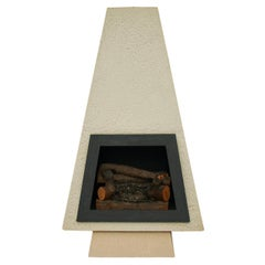 Mid-Century Modern Concrete Architectural Freestanding Fireplace