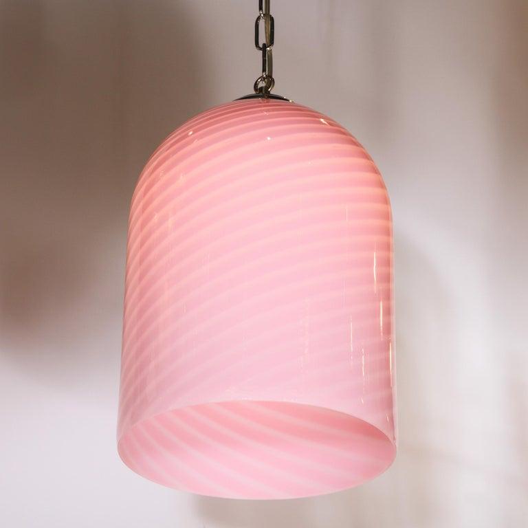 Italian Mid-Century Modern Conical Candy Stripe Handblown Murano Pink Pendant by Vetri For Sale