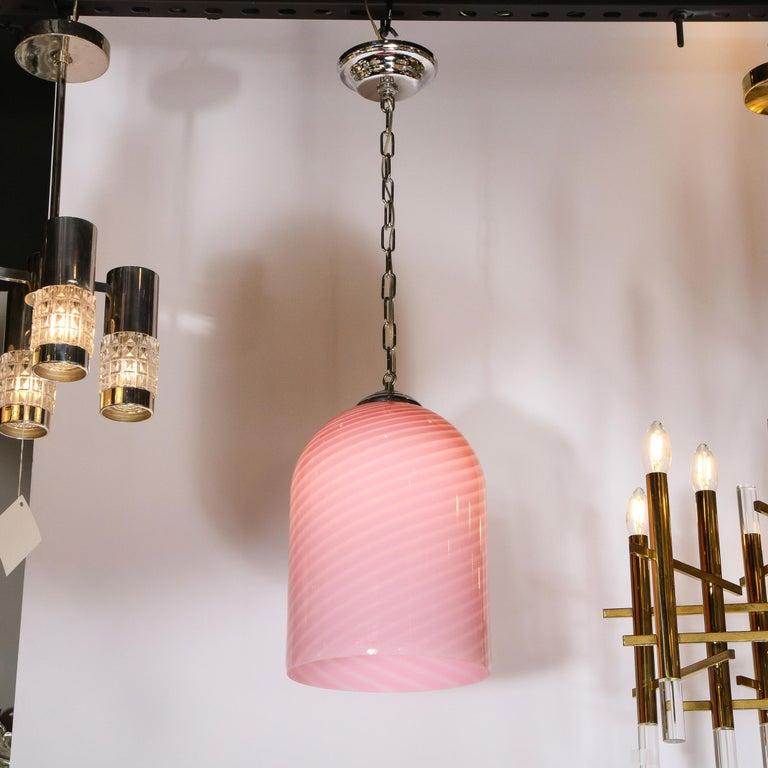 Murano Glass Mid-Century Modern Conical Candy Stripe Handblown Murano Pink Pendant by Vetri For Sale