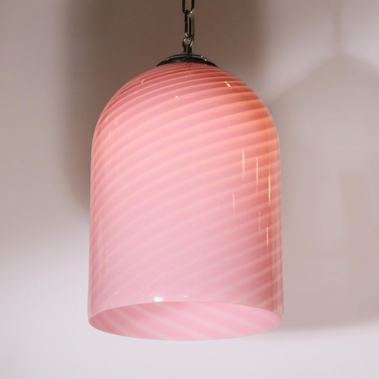 Mid-Century Modern Conical Candy Stripe Handblown Murano Pink Pendant by Vetri For Sale 1