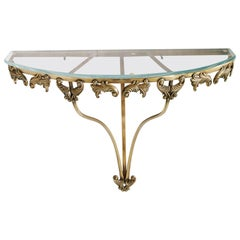 Mid-Century Modern Console, Gilt Bronze and Cristal, Attributed to Colli Torino