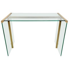 Mid-Century Modern Console Table Glass and Brass Gallotti & Radice, Italy, 1970s