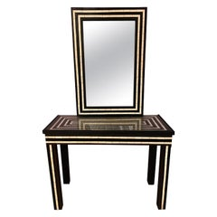 Mid-Century Modern Console, Table or Desk with Mirror Black and White in Resin