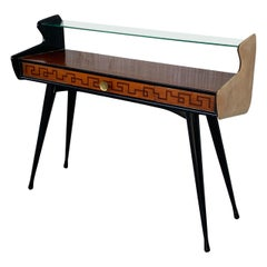 Mid-Century Modern Console Table with High Glass Shelve, Ico Parisi Style