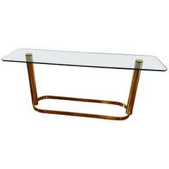 Mid-Century Modern Console with Brass Base and Glass Top