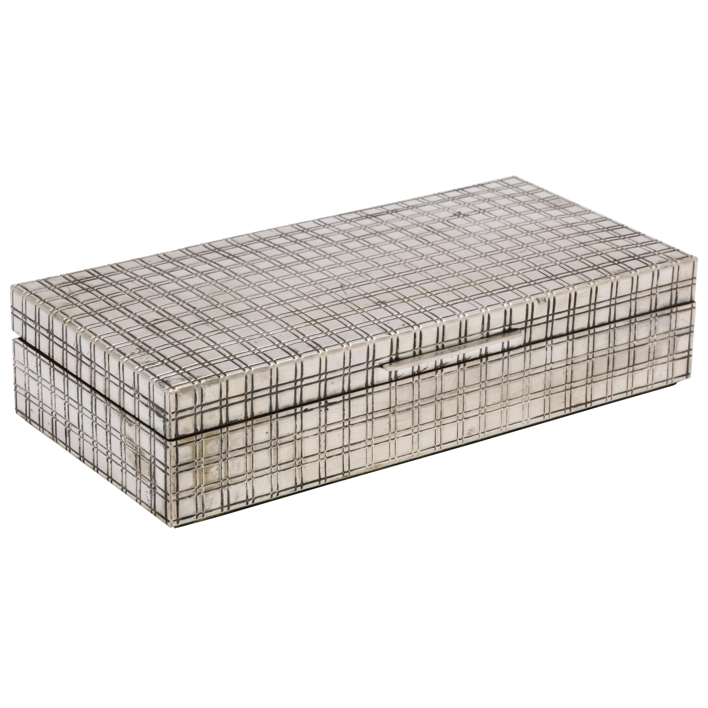 Mid-Century Modern Continental Silver (.800) Table Box with Hinged Lid