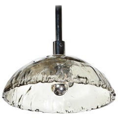 Mid-Century Modern Convex Smoked Murano Glass & Chrome Chandelier by Mazzega