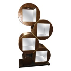 Mid-Century Modern Copper Colored Mirrored Lighted Étagère, circa 1990