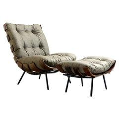 Mid-Century Modern Costela Lounge Chair with Ottoman Carlo Hauner Martin Eisler