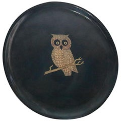 Mid-Century Modern Couroc Owl, Serving Tray, Hand Inlaid by Master Craftsmen