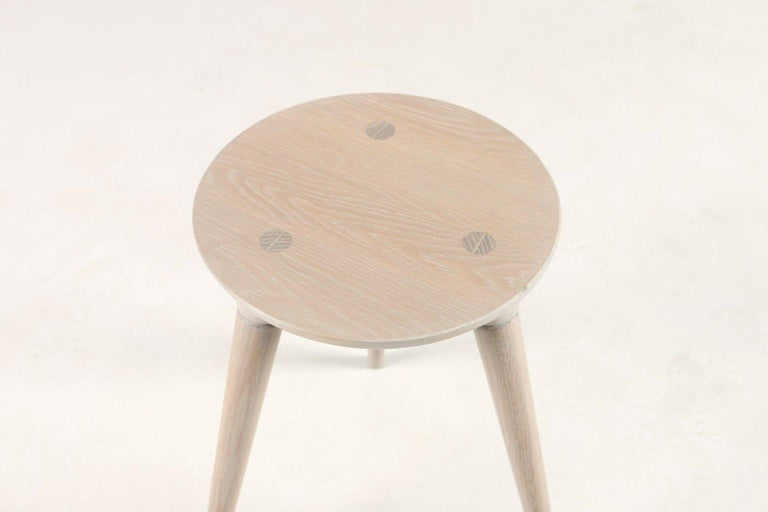 American Mid-Century Modern Coventry Stool by Studio DUNN in Vintage White