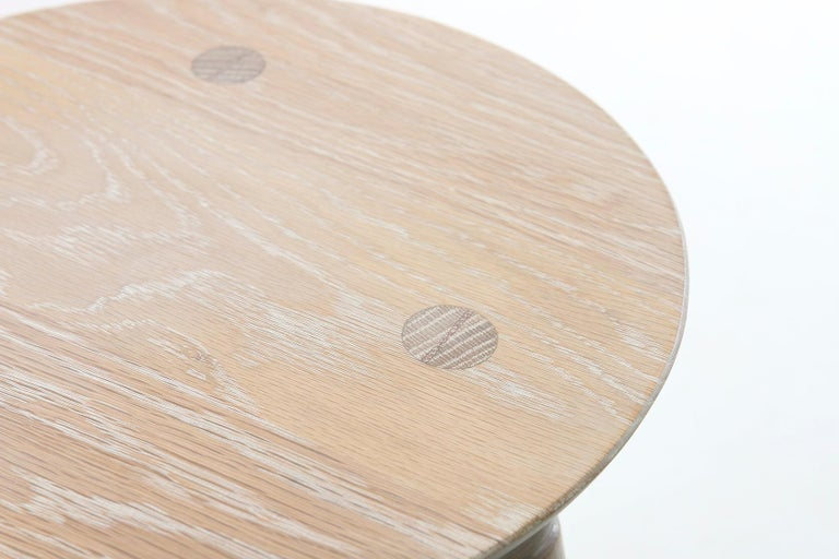 Chamfered Mid-Century Modern Coventry Stool by Studio DUNN in Vintage White