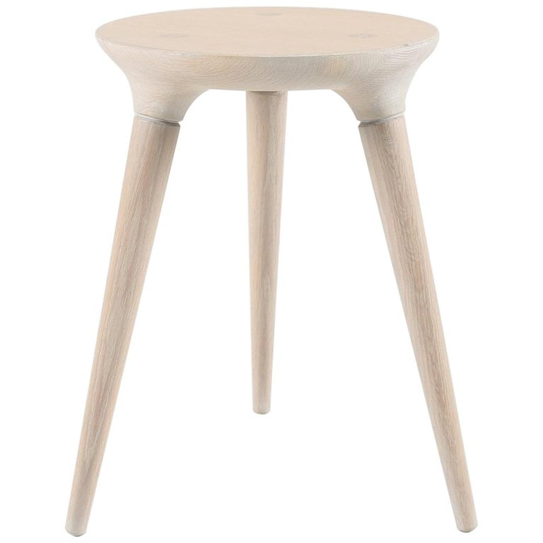 Mid-Century Modern Coventry Stool by Studio DUNN in Vintage White