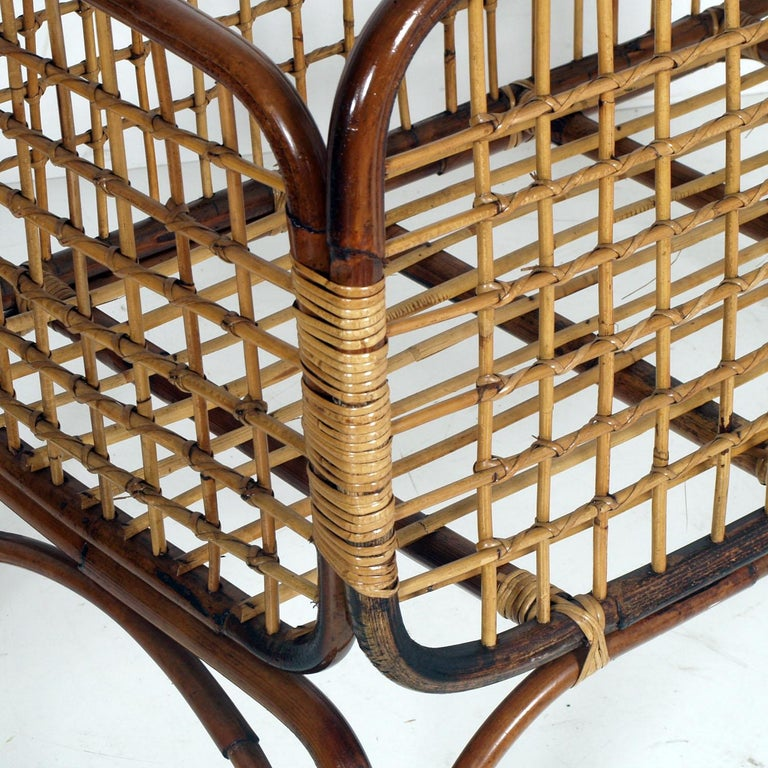 Mid-Century Modern Cradle in Bamboo and Rattam, Ico Parisi Style Period, 1950s In Good Condition For Sale In Vigonza, Padua