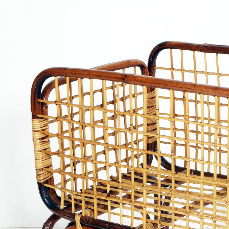 Mid-20th Century Mid-Century Modern Cradle in Bamboo and Rattam, Ico Parisi Style Period, 1950s For Sale