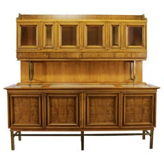 Mid-Century Modern Credenza with Hutch J. L. Metz Attributed Contempora Line