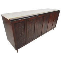 Mid-Century Modern Credenza with Travertine Topper from John Stuart