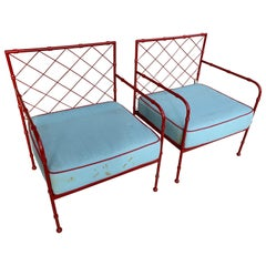 French Mid-Century Modernist Armchairs, Pair