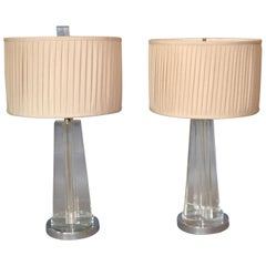 Mid-Century Modern Cross Crystal & Chrome Table Lamps with Plisse Shades, Pair