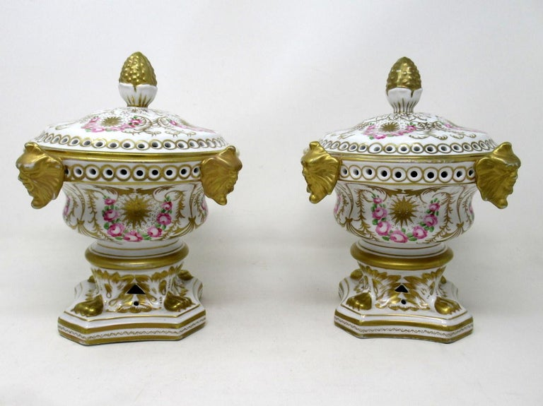 Wonderful identical pair of early English hand painted royal crown derby style lidded urns of generous proportions, possibly used for purpose as Pot Pourri or Pastile Burners of traditional form. Mid Twentieth Century, probably made in Staffordshire