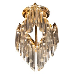 Mid-Century Modern Crystal and Brass Chandelier by J. & L. Lobmeyr Company