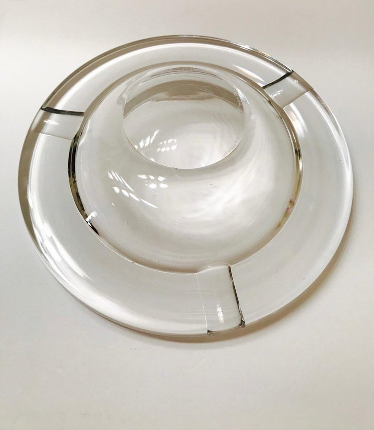Mid-Century Modern Crystal Ashtray by Lindstrand for Kosta Boda, Sweden, 1960s For Sale 6