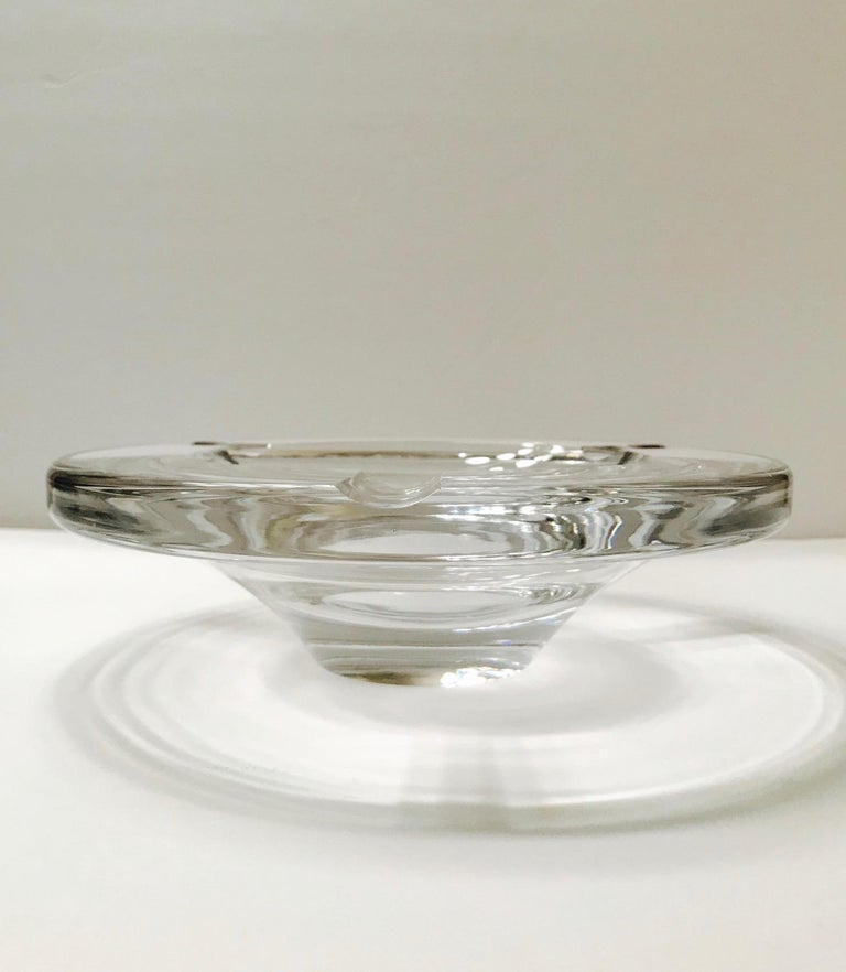 Swedish Mid-Century Modern Crystal Ashtray by Lindstrand for Kosta Boda, Sweden, 1960s For Sale