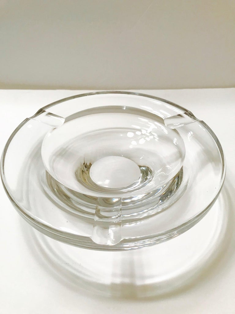 Mid-20th Century Mid-Century Modern Crystal Ashtray by Lindstrand for Kosta Boda, Sweden, 1960s For Sale